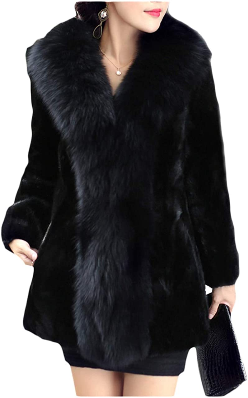 Dawwoti Women's Faux Fur Long Overcoat Thick Long Sleeve Open Front Chunky Overcoat for Christmas Party