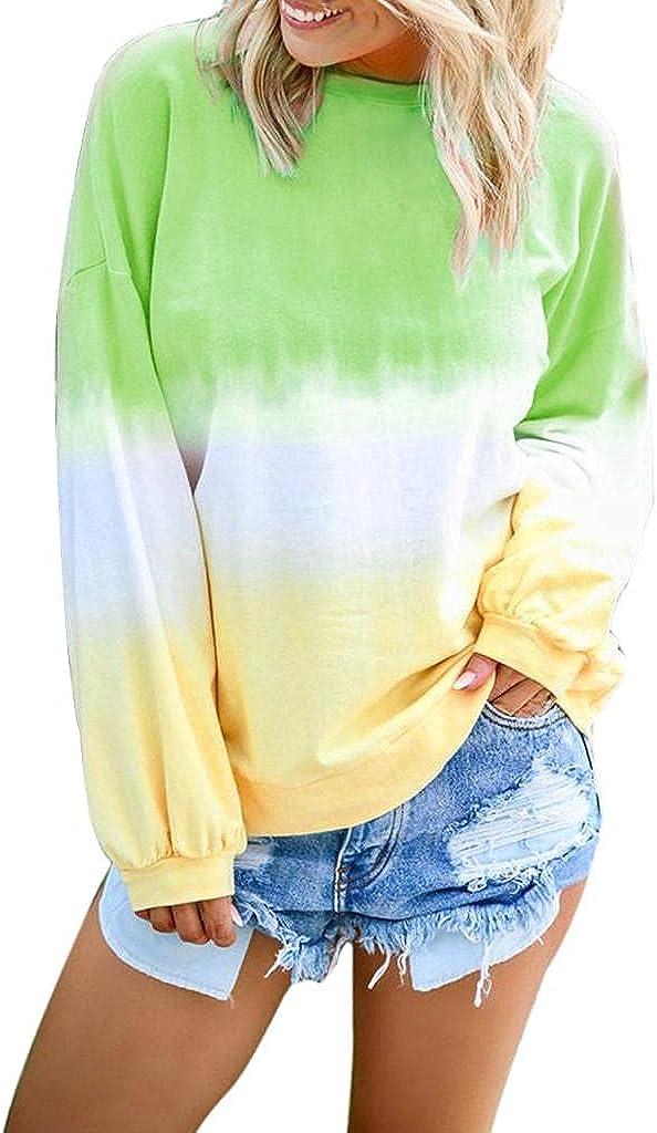 AODONG Women Sweatshirt Pullover,Womens Colorblock Sweatshirt Tie Dye Long Sleeve Printed Loose Pullover Sweatshirt Tops