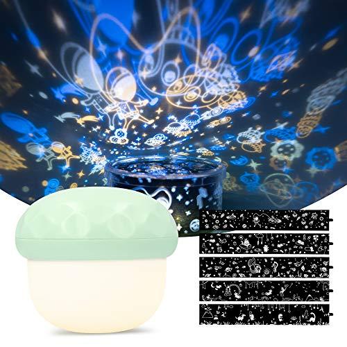 Navaris Pilz Projektionslampe mit LED Nachtlicht Funktion - 5 Projektionsdesigns - mit USB Ladekabel - Projektor Lichterspiel für Kinder - Grün