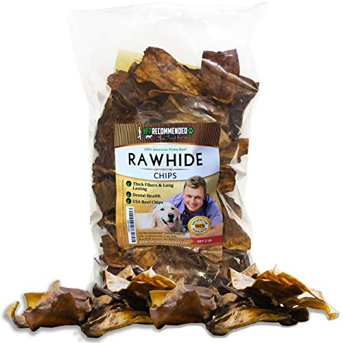 Vet Recommended Beef Rawhide Chips for Dogs (Big 2lb Bag) Thick Fiber & Long Lasting Dog Chew. Made in USA.