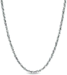 ARGENTO REALE Collar de cadena de plata de ley 925 de 1,5 mm con purpurina, collar delicado, cadena de plata de ley, caden...