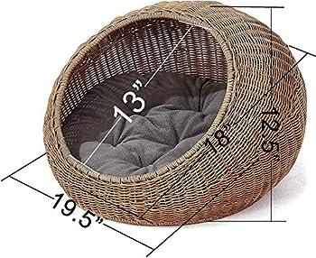 Lit en osier chat, pour les chats d'intérieur - dôme chats rotin moderne panier maisons de tube intérieur couvert isolement animal cabane, lavable,Brown