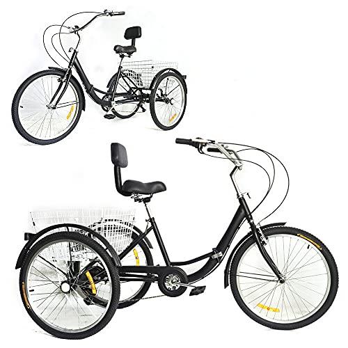 Triciclo pieghevole da 24' per adulti a 7 marce, 3 ruote, con cestino