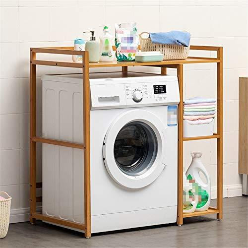 Yingm vrijstaande kast met witte vloer badkamer ruimtebesparende bamboe standaard boven de wasmachine opslag rek wasruimte wc kast eenheid met papieren laag