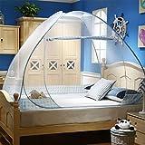 Moustiquaire de Lit Pliable, Digead Portable de voyage Moustiquaire, Porte simple Camping Mosquito Rideau, 120 * 200cm Moustiquaire en Forme de Dôme à Installation Facile - Jante bleue