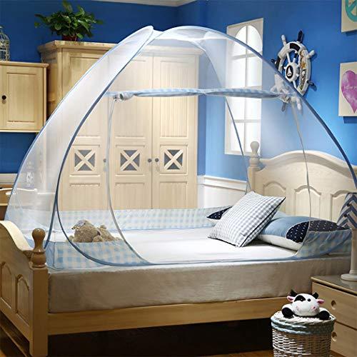 Digead Moskitonetz Bett , Faltbares Bett-Moskitonetz ,Tragbares Reise-moskitonetz , Einzeltür-Moskito-Campingvorhang ,100 * 200 cm - Blauer Rand
