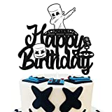 DJ Mask Cake Topper Happy Birthday Sign Marshmallow Party Decoration Underground Electronic Music Video Game Themed Bday Event Celebration Decor for Boys Girls Men Women Anniversary Supplies