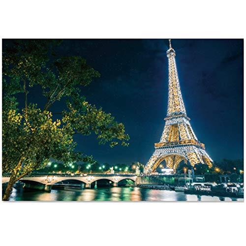 SuperPower® Stained Arte 1000 Pezzi Parigi Francia Torre Eiffel Città Fiume Ponte Paesaggio Vista Notturna Panoramica Puzzle in Legno per Casa Cornice per Foto Decorazione murale Regalo