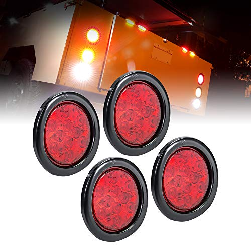 """4pc 4"""" Round Red LED Trailer Tail Lights [DOT Certified] [Grommet & Plug Included] [IP67 Waterproof] Turn Stop Brake Trailer Lights for RV Trucks"""
