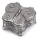 Sumnacon Caja de joyería vintage con forma de mariposa pequeña vitrina para anillos collares pendientes baratijas almacenamiento organizador caso antiguo plata mini caja de recuerdo