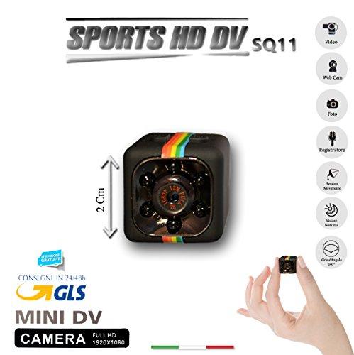 SQ11 - Mini cámara espía Sport Full HD, mini DV, color negro