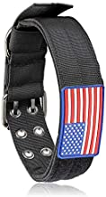 Tactical Dog Collar with Sturdy Metal Buckle Handle 48MM Wide Army Grade Nylon Military Collars Adjustable with Velcro Area American Flag(Black, XL)