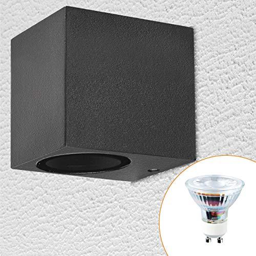 proventa® Außen-Wandleuchte inkl. LED Leuchtmittel, 1 Stück, Aluminium/Glas, GU10-Sockel, 1-flammig, warmweiß 2.700 K, 4,5W, schwarz, eckig