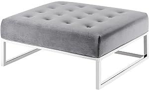 TOV Furniture Nova Grey Velvet Upholstered Oversized Ottoman Gray