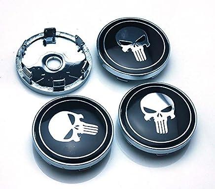BENZEE 4pcs W314 60mm Car Emblem Wheel Hub Caps Centre Cover SKULL Punisher War Zone