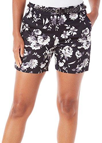 Gloria Vanderbilt Womens Nimah Sateen Rose Shorts 8 Black