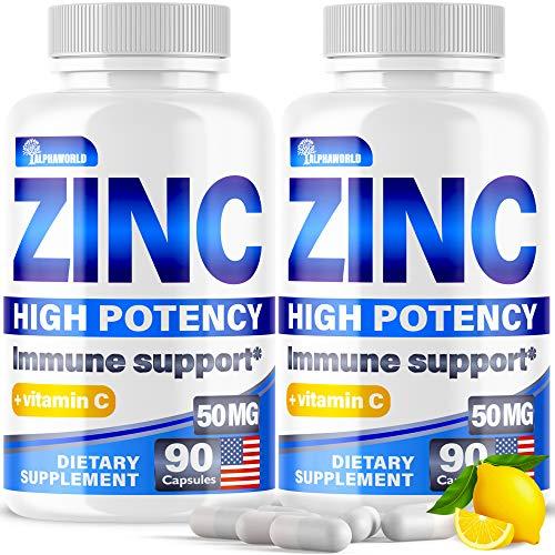 (2 Pack | 180 Capsules) Zіnс Picоlinаte 50Mg with Vіtаmіn C for Immune Support Booster - Zіnс Supplement for Men, Women, Kids - Good for Skin, Hair, Mood & Sleep - Made in USA