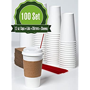 Hot White Paper Cups, lids, Stirrer, and sleeves 12 oz -100 set - Disposable Paper Cups for Coffee, Tea, Hot Chocolate (Restaurant Grades)