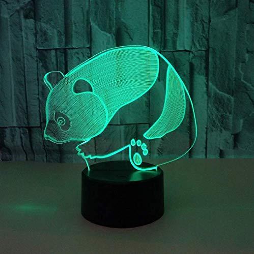 Lindo Panda 3D Led Luz Nocturna Colorida Lámpara De Mesa Táctil Visual Para Niños Regalo De Cumpleaños Decoración Del Dormitorio Del Hogar
