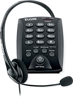 Headset Base Discadora Conjunto Telefonista Elgin HST6000, Elgin, HST6000, Preto