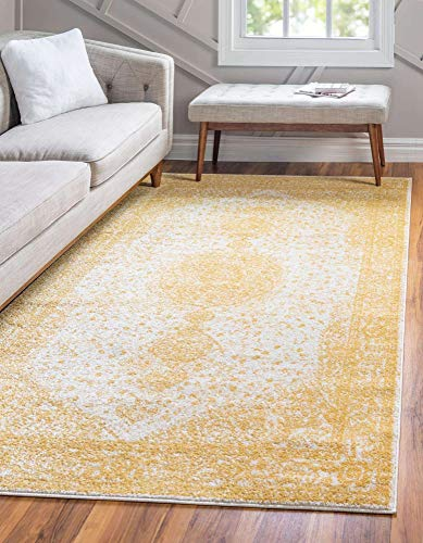 Unique Loom Bromley Collection Vintage Traditional Medallion Border Yellow Area Rug (7' 0 x 10' 0)