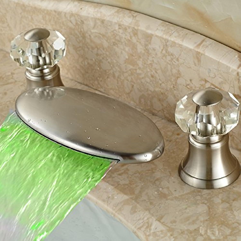 Maifeini ?Led?Lights, Hangs A Waterfall Bathroom Basin Series Dual Crystal Handle Washbasins Mixer,?Nickel-Plating.