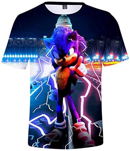 Silver Basic Camiseta Deportiva para Niños 3D Inspirada en la Popular Película y Videojuego Sonic The Hedgehog Summer T-Shirt Sonic Cosplay tee Top M,754Sonic púrpura-3