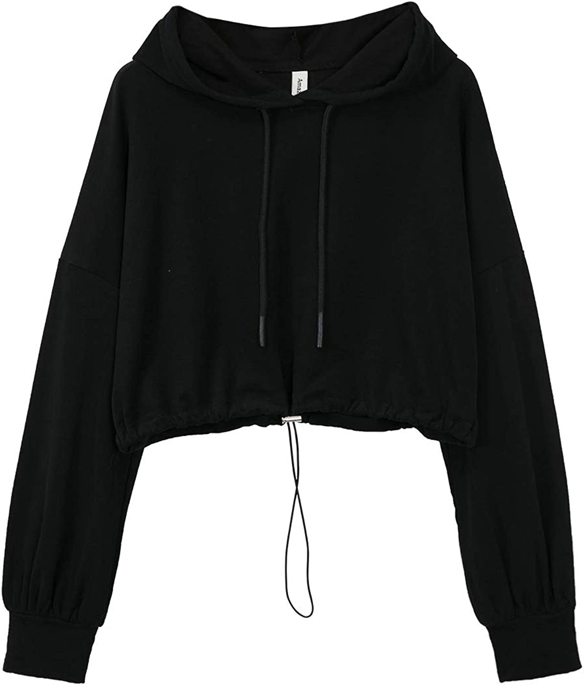 Amazhiyu Women's Cropped Hoodies Long Sleeve Drawstring Pullover Hooded Sweatshirt Casual Loose Crop Top