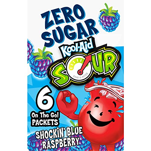 Kool-Aid Zero Sugar Sours Shockin' Blue Raspberry Flavored Drink Mix (6 On-the-Go Packets)