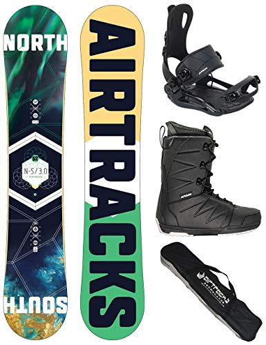 AIRTRACKS Snowboard Set - Board North South 156 - Fijaciones Master - Softboots Savage Black 44 - SB Bag