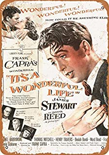 Jacksoney Tin Sign New Aluminum 1946 It's A Wonderful Life Movie 11.8 x 7.8 Inch