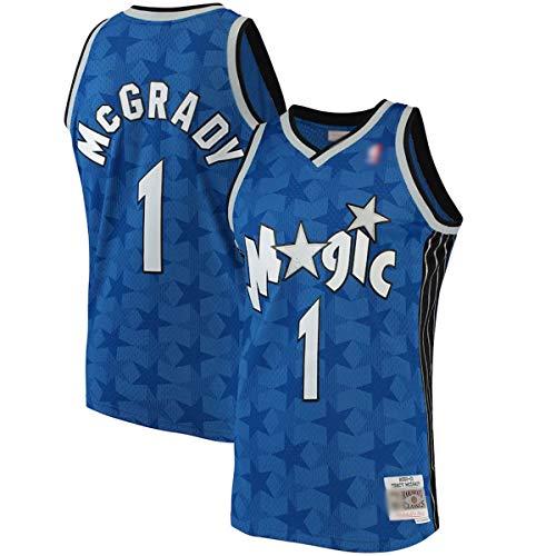 BVFDW Camisetas De Baloncesto Al Aire Libre Tracy Orlando #1 Azul, Magia McGrady 2001-02 Hardwood Classics Swingman Jersey Camisa Para Hombres