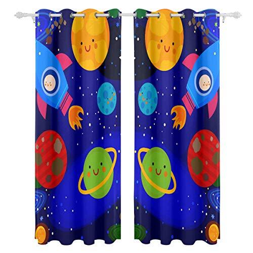Zemivs Cartoon Raum Shiny Solar System Planet einseitiger Druck Blackout Vorhänge Vorhänge Fenster Behandlung Duschvorhang Panels Für Schlafzimmer Wohnzimmer Küche Bad 55 X 78 Zoll 2 Stücke
