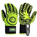 HTR Impact Reducing Mechanics Heavy Duty Safety Rescue Work Gloves, Vibration/ Tear/ Abrasion/ Cut/ Puncture/ Protection Green XL(Large) 1 Pair
