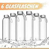 LA VIDA AQUA botella agua cristal 550 ml (Set de 6) Botellas de agua también apta para niños I botella agua sin bpa I Botella cristal para batidos y botella deportiva