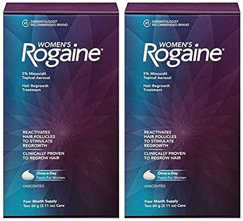 Women's ROGAINE 5% Minoxidil Unscented Foam, 4 Month Supply (Pack of 2)