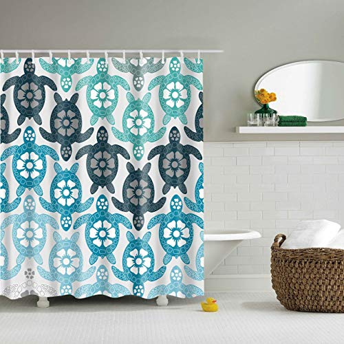 X-Labor Bunt Baum Duschvorhang Anti-Schimmel Wasserdicht Polyester Textil Stoff Badewannevorhang Shower Curtain 180 * 200cm (BxH), Blau
