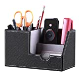 Leather Desk Organizer Office Supplies Caddy with Pen Pencil Holder and Storage Baskets for Desk Accessories, Desktop Business Card/Stationary Set/Sticky Note/Scissors/Phone/Remote Control Holder