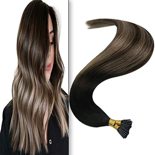 JoYoung Remy I Tip Hair Extensions Human Hair Ombre Natural Black to Dark Brown with Ash Brown Stick Tip Balayage Hair Extensions Pre Bonded I Tips Hair Extensions 50Strands 50g 18inch