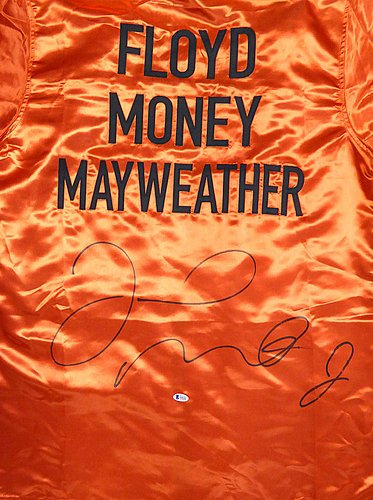 Floyd Mayweather Jr. Autographed Red Boxing Robe - Beckett Certified