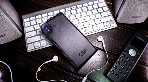 Akira Hand Made [Echt Leder] Handyhülle kompatibel mit Sony Xperia Z2 Wallet Flip Cover Handgemacht Case Schutzhülle Etui Flip Wallet Pen Nappa Schwarz
