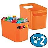 mDesign Organizador de Maquillaje Color Naranja - Cesta plastico Ideal para Sus...