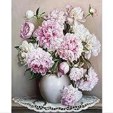 Peinture à l'huile par numéros, Diy peint à la main fleurs photos toile peinture salon mur Art Home Decor cadeau - 16 * 20 pouces sans cadre