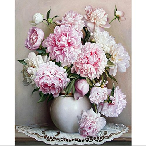 Pintura al óleo por números, Diy pintado a mano flores cuadros pintura de la lona Living Room arte de la pared decoración del hogar regalo - 16 * 20 pulgadas sin marco