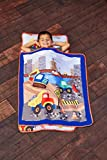 EVERYDAY KIDS Toddler Nap Mat with Removable Pillow -Under Construction- Carry Handle with Fastening Straps Closure, Rollup Design, Soft Microfiber for Preschool, Daycare, Sleeping Bag -Ages 2-6 years