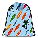 Drawstring Backpack Vacation with Surfboards Durable for Carrying Around