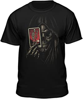 Death by Tarot Card Reaper Skull Face Skeleton Bones Vintage T-Shirt