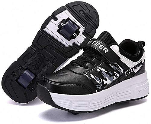 LLH Schuhe Mit Rollen Kinder Skateboard Schuhe Roller Skate Schuhe Sportschuhe Mit Rollen Für Mädchen Jungen,Schwarz-36