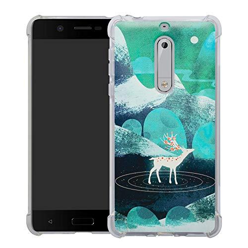 HHDY Nokia 5 2017 Funda, Pintura Ultrafina Suave TPU Silicona Diseño de Bumper Cojín de Aire Protección Cover para Nokia 5 2017,Green Sika Deer