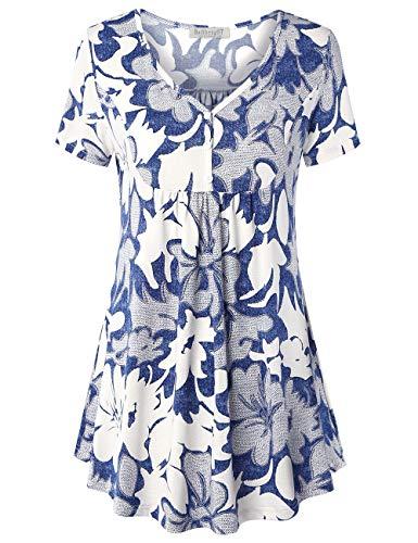 BAISHENGGT Damen T Shirt Kurzarm Oberteile Bluse Hemd Lose Sommer Tunika Top Blau Blumen #3 L